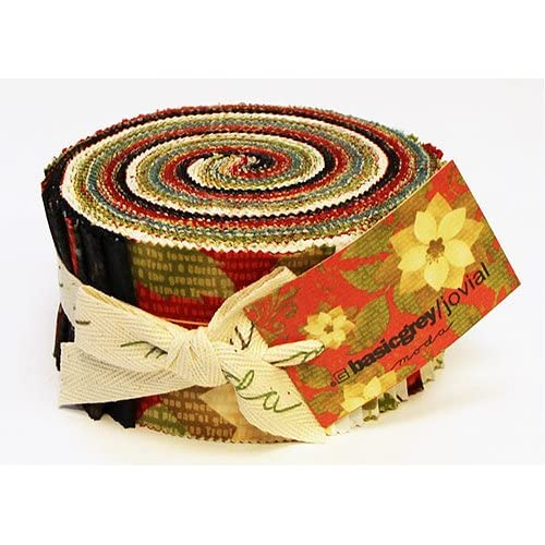 Basic Grey JOVIAL Jelly Roll 2.5 Fabric Quilting Strips