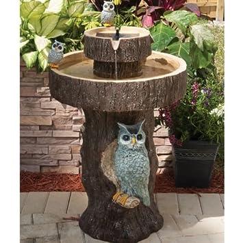 Owl 2-Tier Solar-on-Demand Bird Bath Fountain by Smart Solar