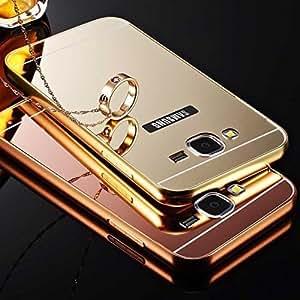 SDO™ Mirror Back Cover Case with Acrylic Bumper Frame for Samsung Galaxy J2 (2016 Edition) (Gold)