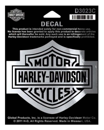 Harley-Davidson Bar & Shield Chrome Medium Decal, 3-15/16'' W x 3-1/8'' H D3023C (Chrome Harley Decal compare prices)