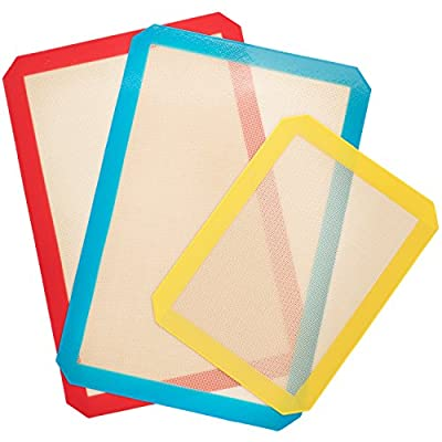 Silicone Baking Mats Set of 3 - 2 X Standard Half Sheet 1 X Toaster Oven Non Stick Baking Sheet