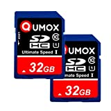 2pcs Pack QUMOX 32GB SD HC 32 GB SDHC Class 10 UHS-I Secure Digital Memory Card HighSpeed Write Speed 40MB/S read speed upto 80MB/S