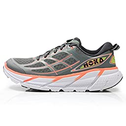 Hoka One One Women\'s W Clifton 2 Grey/Neon Coral Running Shoe 9 Women US