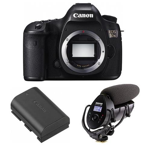 Canon-5DS-DSLR-Camera-Body-506MP-Bundle-With-Shure-VP83F-LensHopper-Camera-Mount-Shotgun-Microphone-Canon-LP-E6-N-Lithium-Ion-Battery-Pack