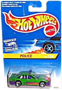 Hot Wheels - 1997 Series - #1 of 4 - POLICE [Cruiser] - Green & Purple Body Colors w/Side & Hood Tampos (Flames Graphics) - 5-Spoke Wheels - Multi-Language Hang Card/Canada - 1