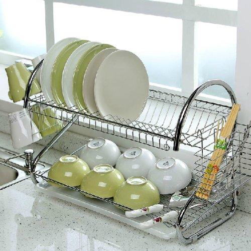 tinxs-2-tier-chrome-dish-rack-holder-drainer-strong-durable-hygienic-easy-assemble-secret-santa