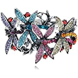 Colorful Crystal Rhinestone Silver Tone Dragonfly Insect Bracelet Bangle Cuff