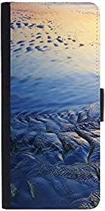Snoogg Beach Texture Graphic Snap On Hard Back Leather + Pc Flip Cover Samsun...