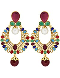 Diwali Gifts Peora Gold Plated Colour Wheel Danglers For Girls & Women