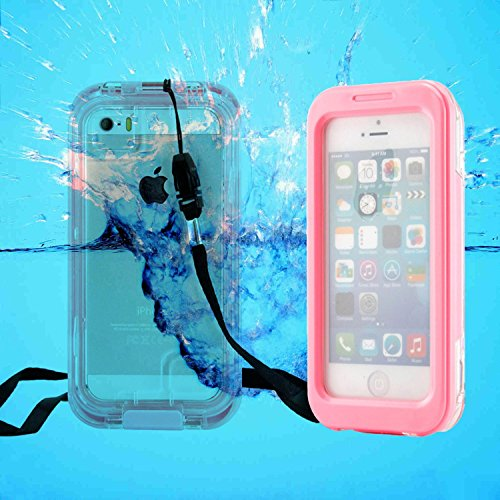 Pioneer Tech® Capture Armor Universal Waterproof Durable Shockproof Dirt Proof Silicon Touch Screen Case With Strap For Apple Iphone 4/4S/5/5S (Pink)