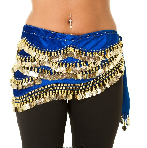 Velvet Beaded Belly Dance Coin Hip Scarf Dark Blue/gold