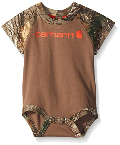 Carhartt Baby-Boys Camo Raglan Bodyshirt, Canyon Brown, 12 Months