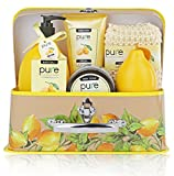 One Day Sale!!! Spa in a Basket - Best Gift Set for Women (Zesty Lemon) Bath & Body Luxury Spa Kit -