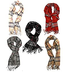 Weavers Villa Set of 5 Twill Pashmina Plaid Checks Stoles, Scarf, Dupattas