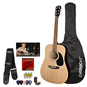 Squier by Fender Acoustic Guitar Bundle with Strings, Strap, Tuner, ChromaCast Guitar bag Pick Sampler from GO-DPS