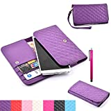 S4 Mini Case,JCmax High Grade PU Leather Notecase [Built-in Card Slots] With Noble Compact Pattern Folio Flip Magnetic [Removable wristbands] Slim Skin For Galaxy S4 Mini - Purple