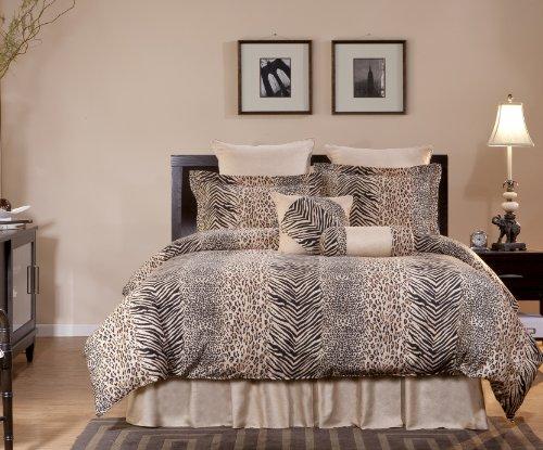 Pointehaven 8-Piece 100-Percent Cotton Luxury Bedding Ensemble, Urban Safari, Queen