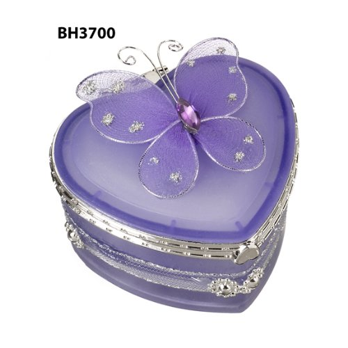 Butterfly Heart Shaped Jewelry Box - Purple