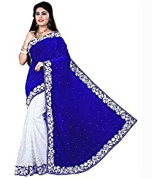 Fashion Zone Women's Velvet Blue Saree (Fashion New Blue Velvet)
