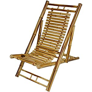 Oriental Furniture Simple, Solid, Sustainable Furniture, 4-Feet Japanese Design Style Bamboo Folding Reclining Chair