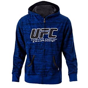 UFC Men's Cobalt/Grey Twisted Zip Up Hoodie (Large)