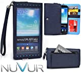 E x p o s e Clutch : Dark Blue Wristlet Cover Case May Fit Samsung Galaxy Note N7000 + NuVur ™ Key Chain