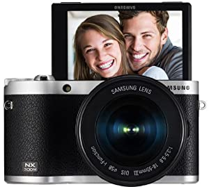 """Samsung NX300M 20.3MP CMOS Smart WiFi & NFC Mirrorless Digital Camera with 18-55mm Lens and 3.3"""" AMOLED Touch Screen (Black)"""