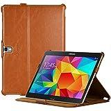MANNA UltraSlim Samsung Galaxy Tab S 10.5 Hülle | Cover mit Autosleep-Funktion | Aufstellbare Tasche mit CleverStrap | Case in braun mit farblich abgesetzter Naht| Kompatibel mit SM-T805