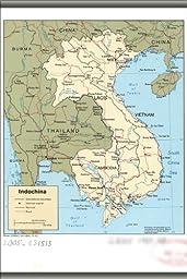 24x36 Poster; Cia Map Of Vietnam Laos Cambodia 1985; Antique Reprint