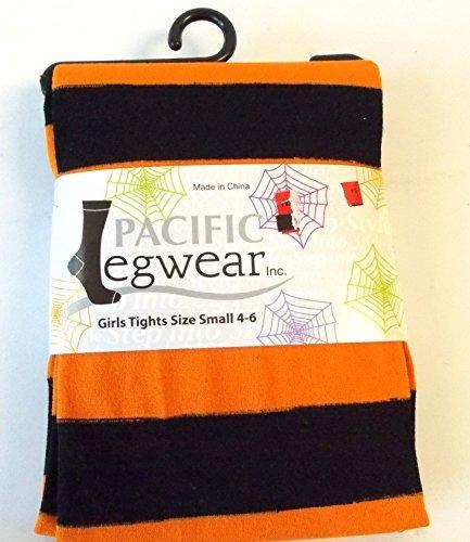 orange-black-striped-halloween-child-tights-m-7-10-nip-by-shopko