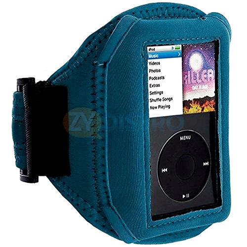 Mylife (Tm) Ocean Blue Velcro Strap (Light Weight Neoprene + Secure Running Armband) For Apple Ipod Classic 1St, 2Nd, 3Rd, 4Th, 5Th, 6Th And 7Th Generation (30Gb/60Gb/80Gb/120Gb/160Gb) (Universal One Size Fits All + Velcro Secured + Adjustable Length + Se