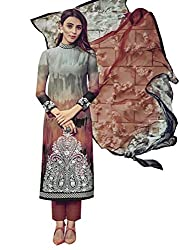 Lebaas Designer Grey and Brownn Lawn Cotton A-Line Suit (Unstitched Dress Material) - (With Discount and Sale Offer)