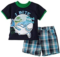 Little Rebels Baby-Boys Infant 2 Piece Shark Short Set, Peacoat, 12 Months