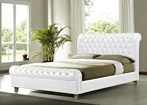 Brand New Richmond Faux Leather Bed Frame (white, Double (L:242; W:148.5; H:116)cm)