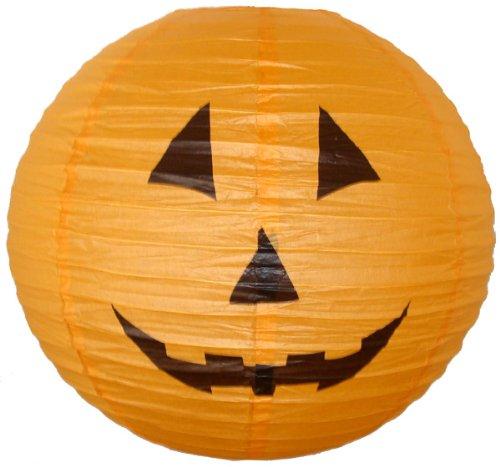 """Orange Halloween Pumpkin Paper Jack-O'-Lantern/Lamp 16"""" Diameter - Just Artifacts Brand"""