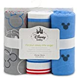 Disney Mickey Mouse Receiving Blankets for Baby,3 Pack,100% Cotton,30x30