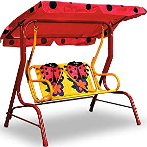 hollywoodschaukel kinder beetle marienk fer rot kinderschaukel 2 sitzer gartenschaukel garten. Black Bedroom Furniture Sets. Home Design Ideas