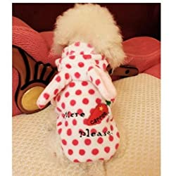 Demarkt Fashion Dog Cat Puppy Flannel Fleece Polka Dots Print Rabbit Shaped with Carrot Hoodie Costume Clothes Pet Apparel Superdog Dress Up Pet Supplies (XL, White and Dots Rose Red)