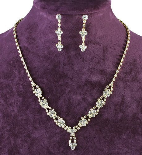 Gold Daisy Clusttered Crystal Floral Necklace Earrings Jewellery Set with PreciousBags Dust Bag