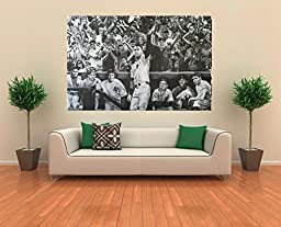 Derek Jeter Curtain Call Canvas Art Print w/Yankees Hall of Famers, Mantle, Ruth
