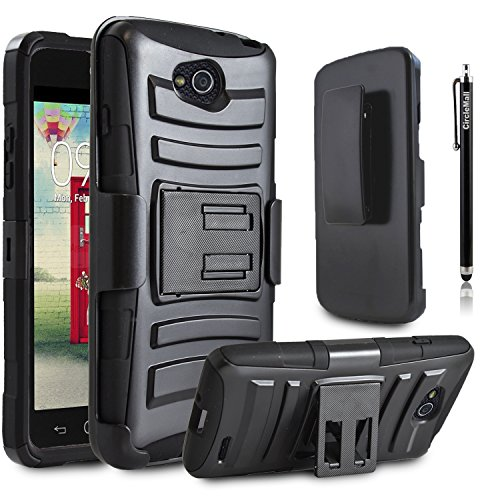 LG Optimus L90 Case, Combo Shell Cover Kickstand with Built-in Holster Locking Belt Clip+Circle(TM)Touch Screen Pen And Screen Protector-Black (Cell Phone Accessories For L90 compare prices)