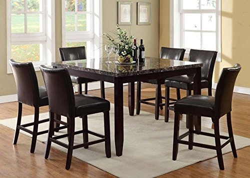 Furniture2go UFE-9205 Hilton 7pc Counter Height Dining Set - Dining Table with 6 Chairs - Black & Brown - Wood & PU Leather, Assembly Required