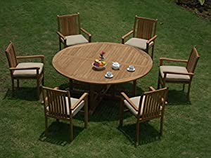 "9 Pc Luxurious Grade-A Teak Dining Set -72"" Round Table And 8 Cahyo Stacking Arm Chairs from WholesaleTeak"