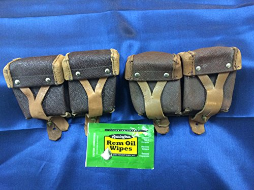 2 Pack Original Russian Military Surplus Mosin Nagant M38 M44 91/30 1891 91 30 7.62x54 Leather Ammo Pouches W/Free Rem Oil Wipe