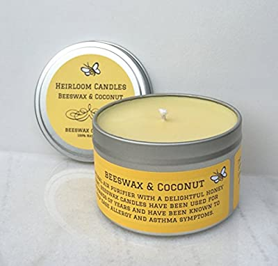 Pure Beeswax Candle - Coconut Oil Beeswax Unscented Candle - Round Tin Handmade, 8oz