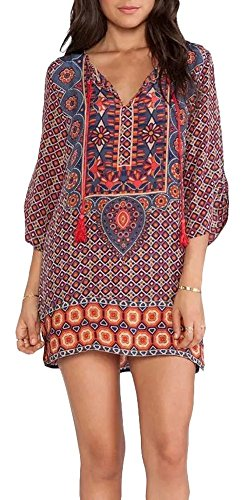 Yisqzjzj The Popular Women Bohemian Neck Tie Floral Print Ethnic Style Shift Dress Pattern 1 / OrangeLarge Shipping from USA about 2-3 days (1960 Ties compare prices)