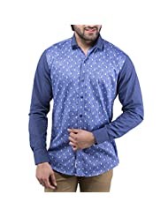 Tag & Trend Men's Slim Fit Casual And Party Wear DENIM BLUE Shirt By TRADIX INNOVATIONS