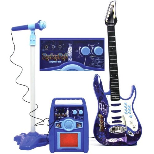 Kids Authority Rock and Roll Guitar/Microphone/Amplifier/speaker Kids toy Karaoke -Blue