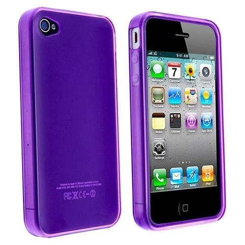 Purple TPU Flexible Case For Apple Iphone 4 4G