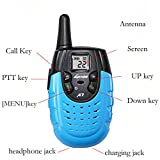 LUITON A7 Mini Durable Walkie Talkie Toy Gift for kids Long Distance Two-Way Ham Radio with Rechargable Lithium Battery Interphone for Outdoor Activities (Blue)(Pair)